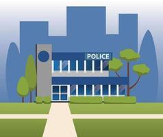 desenho vetorial de construção de departamento de delegacia de polícia vetor