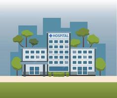desenho vetorial de construção de hospital vetor