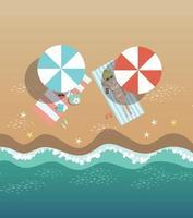 na praia, à beira-mar e itens de praia, desenho vetorial vetor