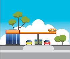 desenho vetorial de construção de posto de gasolina vetor