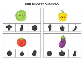 encontre a sombra correta de vegetais bonitos. jogos de cartas de clipe para impressão para crianças. vetor