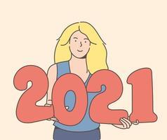 mulher loira sorridente segurando 2021 balões vetor