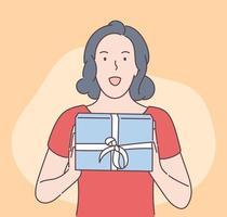 feriado, presente, conceito de celebração. jovem feliz saiu linda mulher morena segurando a caixa de presente. ilustração de oferta de presentes de Natal ou aniversário de ano novo. vetor