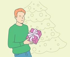 feriado, presente, conceito de celebração. jovem feliz alegre sorridente cara rapaz segurando o presente. ilustração de oferta de presentes de Natal ou aniversário de ano novo. vetor