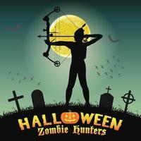 caçador de zumbis arqueiro de halloween no cemitério noturno vetor