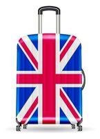 mala de viagem real com bandeira do Reino Unido vetor