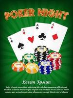 noite de pôquer de cassino com naipe de cartas e fichas vetor
