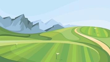 campo de golfe com montanhas ao fundo. vetor
