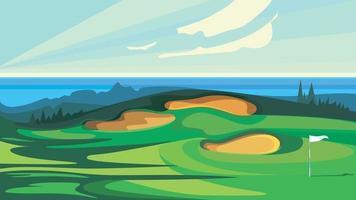 campo de golfe verde. vetor