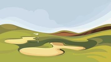 campo de golfe com armadilhas de areia. vetor