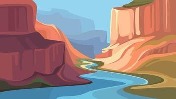 grande canyon com rio. vetor