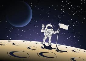 desenho de desenho animado de astronauta segurando uma bandeira na superfície da lua vetor