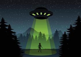 desenho de desenho animado de OVNI voando sobre a floresta e um homem vetor