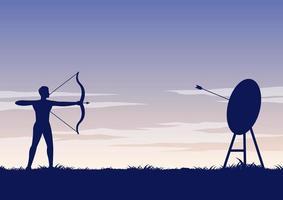 silhueta do arqueiro atirando flecha vetor