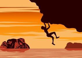 desenho de silhueta de homem escalando penhasco vetor