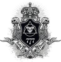 sinal gótico com crânio, camisetas com design vintage grunge vetor