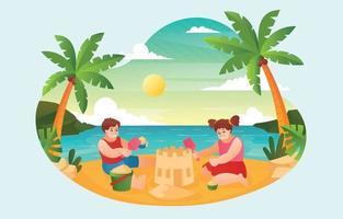 crianças construindo castelo de areia na praia vetor