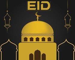 eid fundo mesquita cor ouro eid dia vetor