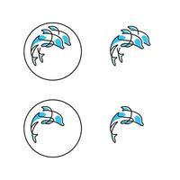ícones de linha de conjunto de golfinhos vetor