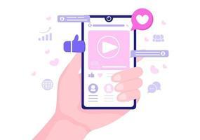 ilustração de marketing de mídia social para plataforma de serviço online de publicidade, curso online, analítica, software de gerenciamento de anúncios, website vetor