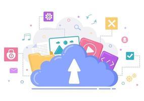 ilustração de serviço de armazenamento em nuvem para hospedagem ou data center, download de arquivo online, upload, gerenciamento e tecnologia vetor