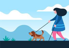 Menina, com, guia, cão vetor