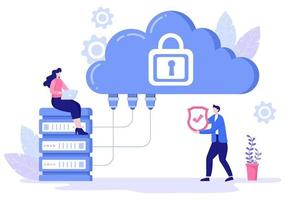 ilustração privada de nuvem de dados para acessar hospedagem ou banco de dados e proteção de dados. conceito de negócio de escudo de segurança cibernética na internet vetor