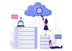 armazenamento de dados em nuvem que hospeda ilustração de pesquisa para estatísticas de banco de dados de informações e análise de pesquisa vetor