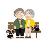 feliz dia dos avós cartão de saudação. família sênior com cachorro. vetor