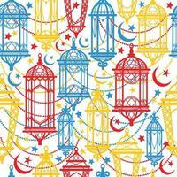 padrão sem emenda de lanternas kareem do ramadan. feliz celebração do fundo do Ramadã. vetor