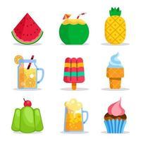 coleção de ícones de comida de verão vetor
