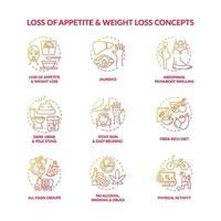 Conjunto de ícones de conceito de saúde hepática vetor