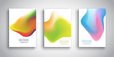 Modelos de brochura com desenhos fluidos 3D abstratos