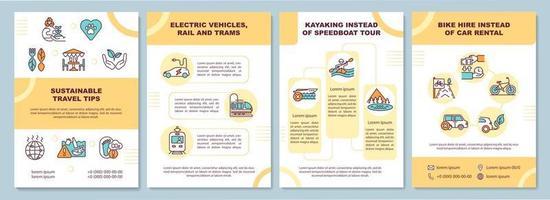 modelo de folheto de dicas de viagens sustentáveis vetor