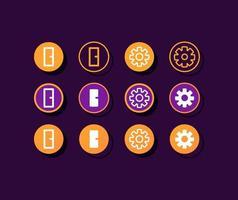 kit de elementos da interface do usuário dos botões de configurações do app do rastreador de fitness vetor