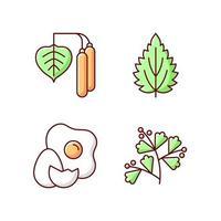 Conjunto de ícones de cores rgb de intolerância a alérgenos vetor
