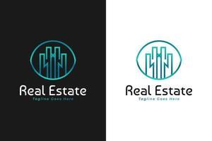 logotipo imobiliário em gradiente azul e verde com estilo de linha. construção, arquitetura ou modelo de design de logotipo de construção vetor