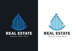 logotipo de imóveis modernos em gradiente azul com estilo de linha. construção, arquitetura ou modelo de design de logotipo de construção vetor