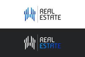 logotipo imobiliário em gradiente azul com estilo de linha e conceito abstrato. construção, arquitetura ou modelo de design de logotipo de construção vetor