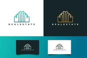 logotipo de imóveis de luxo em gradiente dourado com estilo de linha. construção, arquitetura ou modelo de design de logotipo de construção vetor