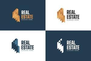 logotipo de imóveis de luxo em gradiente dourado. construção, arquitetura ou modelo de design de logotipo de construção vetor