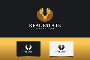 logotipo imobiliário de ouro. construção, arquitetura ou modelo de design de logotipo de construção vetor