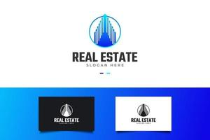 logotipo de imóveis modernos em gradiente azul. construção, arquitetura ou modelo de design de logotipo de construção vetor