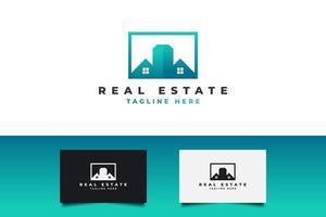 logotipo de imóveis modernos em gradiente de azul e verde. construção, arquitetura ou modelo de design de logotipo de construção vetor
