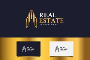 logotipo imobiliário em gradiente dourado. construção, arquitetura ou modelo de design de logotipo de construção vetor