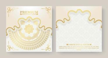 cartão mandala de fundo branco luxuoso vetor