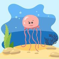 água-viva bonita no fundo da paisagem. ilustração vetorial isolada no fundo do mar. conceito de design com mamíferos marinhos. estilo cartoon vetor