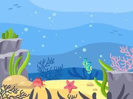 fundo do mar, mundo subaquático. plano de fundo no estilo cartoon. ilustração vetorial. profundidade do oceano vetor