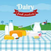 conjunto de produtos lácteos, paisagem de fazenda rural com vaca leiteira, moinho de vento, casa. blocos de queijo, iogurte, jarro de leite, garrafas, manteiga. vetor