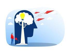 humano pensa ideia de crescimento design plano para negócios financeiro marketing bancário publicidade comercial conceito de vetor